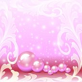 Of A Pink Background With A Scattering Of Pearls And Ornaments