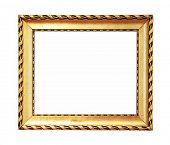 Old golden painting frame on white background