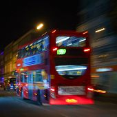London red bus at night