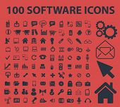 100 software, administration, system, application isolated icons, signs, symbols, illustrations, silhouettes, vectors set