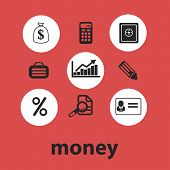 money, finance, bank, payment isolated icons, signs, symbols, illustrations, silhouettes, vectors se