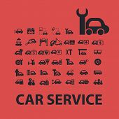 car service isolated icons, signs, symbols, illustrations, silhouettes, vectors set
