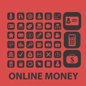 online payment, investment, online money isolated icons, signs, symbols, illustrations, silhouettes,