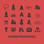human resources, management, organization isolated icons, signs, symbols, illustrations, silhouettes
