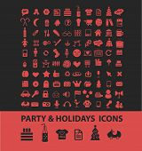 party, holidays, christmas, isolated icons, signs, symbols, illustrations, silhouettes, vectors set