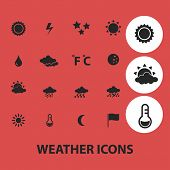 weather, climate isolated icons, signs, symbols, illustrations, silhouettes, vectors set