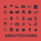 analytics, infographics, presentation isolated icons, signs, symbols, illustrations, silhouettes, ve