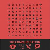 100 communication, connection isolated icons, signs, symbols, illustrations, silhouettes, vectors se