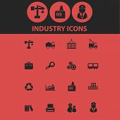 industry isolated icons, signs, symbols, illustrations, silhouettes, vectors set