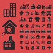 real estate, buildings, houses, city isolated icons, signs, symbols, illustrations, silhouettes, vectors set
