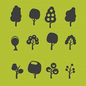 tree, nature isolated icons, signs, symbols, illustrations, silhouettes, vectors set