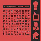 100 construction, business isolated icons, signs, symbols, illustrations, silhouettes, vectors set