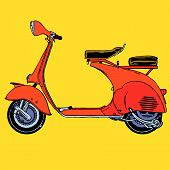 stock photo of vespa  - Detail classic retro vintage Scooter vector illustration cartoon - JPG