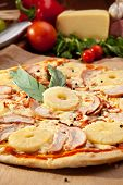 Pizza with Chicken Breast, Pineapple and Mozzarella Cheese