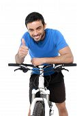 Attractive Sport Man Riding Mountain Bike Training Giving Thumb Up