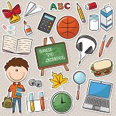 School Boy And Education Objects