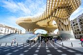 Seville, Spain, Jun 5 2014: Metropol Parasol is the modern architecture on Plaza de la Encarnacion o