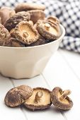 the dried shiitake mushrooms on kitchen table