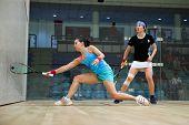 AUGUST 19, 2014 - KUALA LUMPUR, MALAYSIA: Jenny Duncalf of England (blue) plays Tong Tsz-Wing of Hon