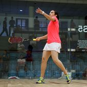 AUGUST 19, 2014 - KUALA LUMPUR, MALAYSIA: Heba El Torky (Egypt) makes a serve during her match in th
