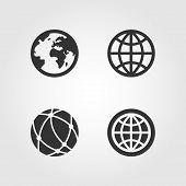 Earth globe icons set, flat design