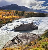 National Park Torres del Paine in Chile. Cascades Paine - a raging waterfall on the Rio Paine.