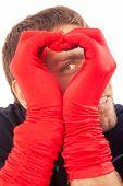 Handsome Man In Red Gloves