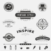Retro Vintage Labels Logo design vector typography inspiration template set.  Old style elements, business signs, logos, label, badges and symbols. Design Studio Logotype inspiration collection pack