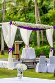 beautiful wedding arch, cabana on beach, outdoor beach wedding