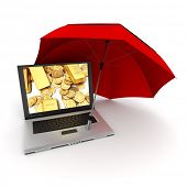 3D rendering of a laptop with gold ingots and coins on the screen, protected by an umbrella