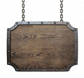 wood medieval sign hanging on chains isolated