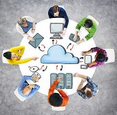 People Cloud Computing Connection Data Downloading Sharing Concepts