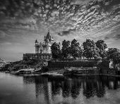 Jaswanth Thada mausoleum on sunset, Jodhpur, Rajasthan, India. Black and white version