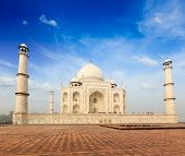 Indian famous landmark - India travel background Taj Mahal. Agra, Uttar Pradesh, India