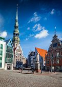 Riga Town Hall Square and St. Peter's Church, Riga, Latvia