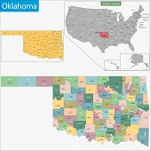 Map of Oklahoma state designed in illustration with the counties and the county seats