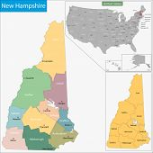 Map of New Hampshire state designed in illustration with the counties and the county seats