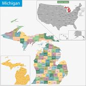 Map of Michigan state designed in illustration with the counties and the county seats