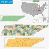 picture of memphis tennessee  - Map of Tennessee state designed in illustration with the counties and the county seats - JPG