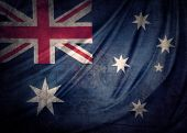 Closeup of grunge Australian flag