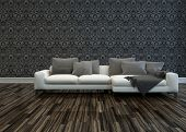 3D Rendering of White Sofa with Grey Cushions in Room with Grey Patterned Wallpaper and Hardwood Floor
