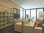 3D Rendering of Modern open-plan office with multiple workstations in a spacious room with floor-to-ceiling windows and bookcases with files along one wall