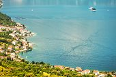 View of a small town by the sea. Montenegro