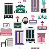 Bedroom Set Furniture Retro Style Background