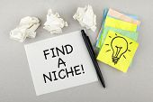 image of niche  - find a niche phrase note with light bulb - JPG