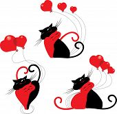 cute cartoon cats with red hearts. Happy valentines day
