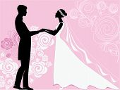 silhouettes of the bride and groom at a wedding ceremony on a pink background