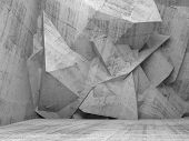 Empty Concrete 3D Interior With Chaotic Polygonal Wall