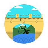 Flat vector icon for extreme sport. Rope jumping.