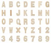 Wooden Alphabet And Numbers Collection , Clipping Path